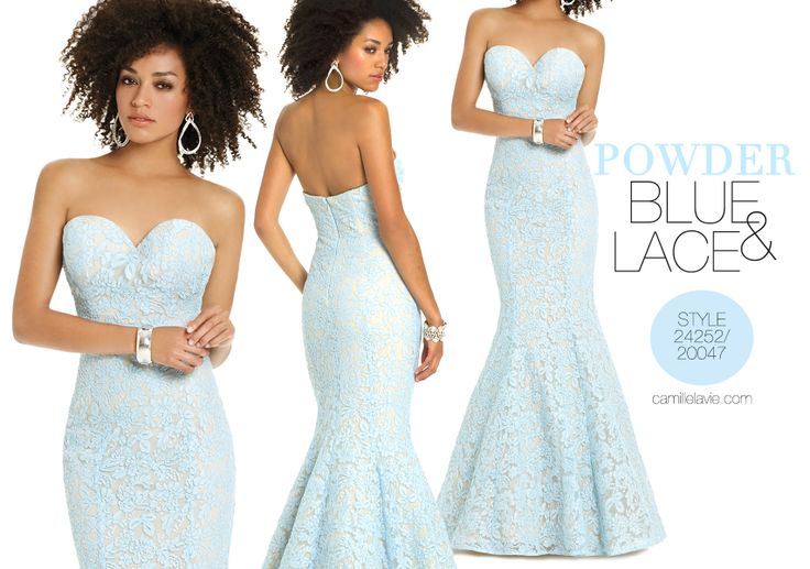 Camille La Vie Lace Long Strapless Prom Dress