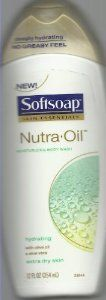 Softsoap Skin Essentials Nutra Oil Moisturizing/hydrating Body Wash with Olive Oil and Aloe Vera for Extra Dry Skin 12oz by SOFTSOAP. $8.99. NON GREASY. WITH OLIVE OIL AND ALOE VERA. HYDRATING. FOR EXTRA DRY SKIN.. Skin essentials. Hydrating with almond oil & shea butter. Deeply hydrating. No greasy feel. Leave skin deeply hydrated, without the greasy feel, with Nutra-Oil Moisturizing Body Wash. Infused with nutrient rich almond oil and shea butter, it absorbs quickl...