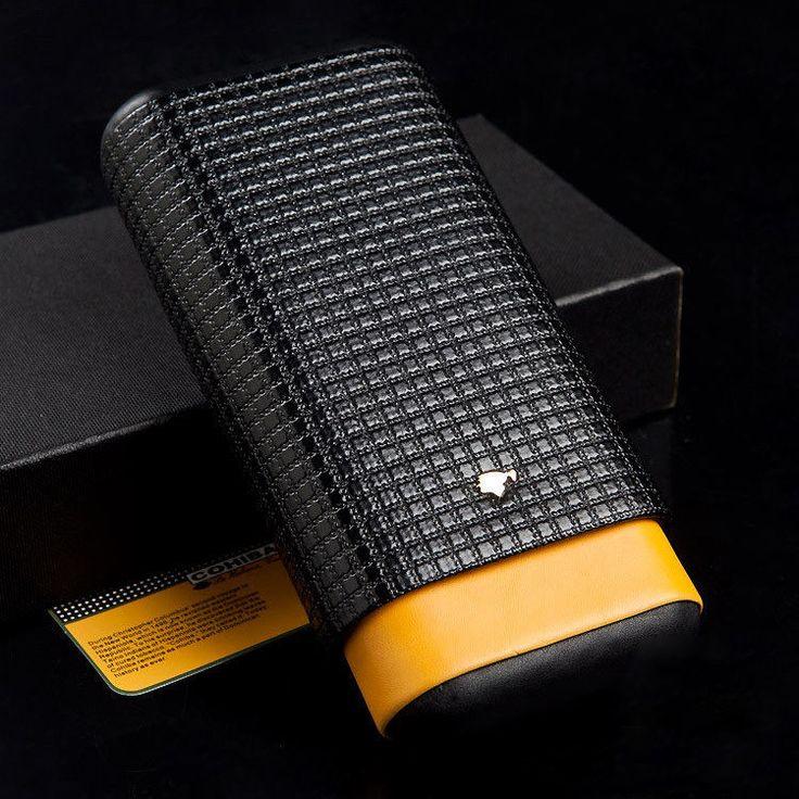 COHIBA Black&Yellow Leather Cedar Wood Lined 3 Tube Cigar Travel Case Holder