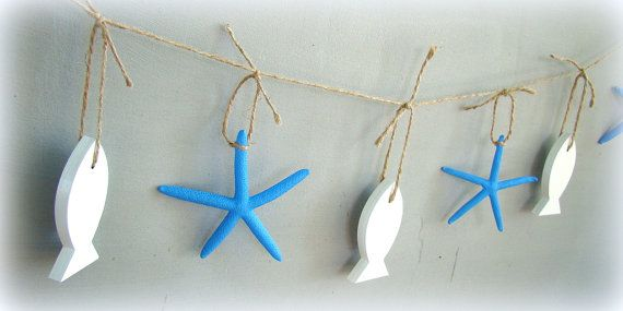 Coastal Garland, Nautical garland, Shells and Star fish Garland, Rope Garland, Beach Wedding Garland