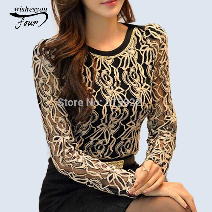 2017 Fashion Plus Size Long Sleeve Crochet Black And White Body Lace Chiffon Blouse Women Elegant Vintage Female Shirt 339B 25
