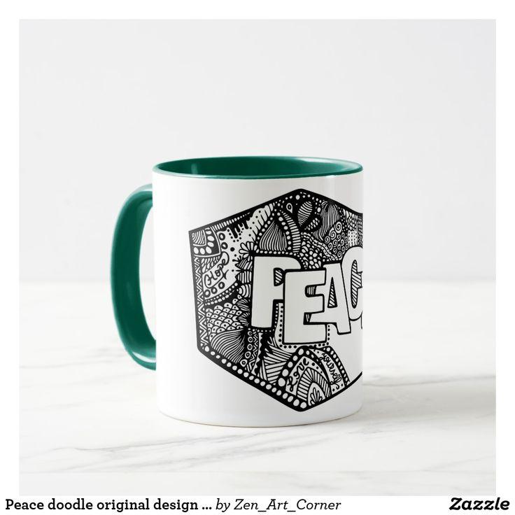 Peace doodle original design - green Mug