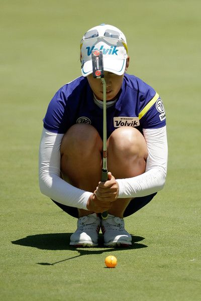 Chella Choi of South Korea lines up a putt on the fourth green during the final round of the 2017 KPMG PGA Championship on July 2, 2017 in Olympia Fields, Illinois.