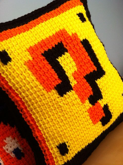 "Ravelry: MalonB's Tunisian Crochet -"" ? Block and Coins Pillow!    (Use chart at http://www.mariomayhem.com/fun/mario_cross_stitch/images/super_mario_bros_3_stitch_pattern.jpg)"