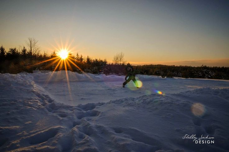 Backyard rink - winter in Grey County, Ontario.
