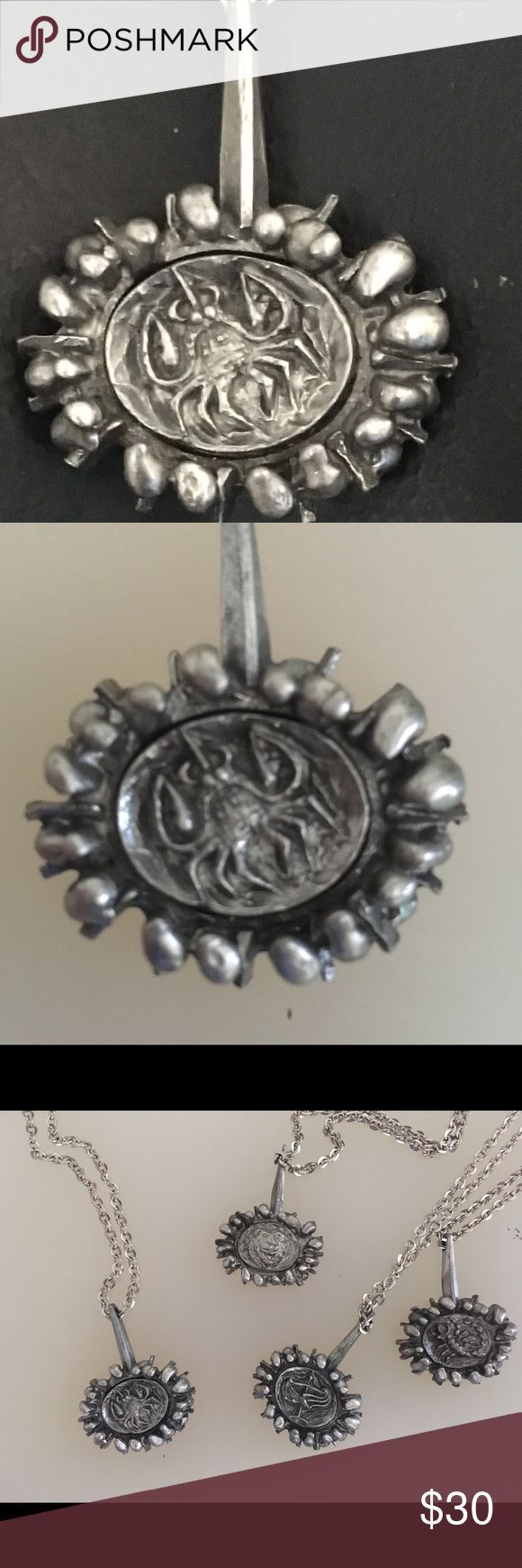 """Vintage Lysgard Danish Pewter """"Cancer"""" Necklace Symbolizing astrological sign of Cancer, this beautiful pewter handmade necklace is from vintage designer Lysgard Vintage Jewelry Necklaces"""