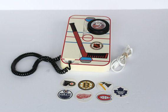 NHL Vintage téléphone bouton-poussoir Hockey équipes cordon téléphone Hockey de la LNH Fone
