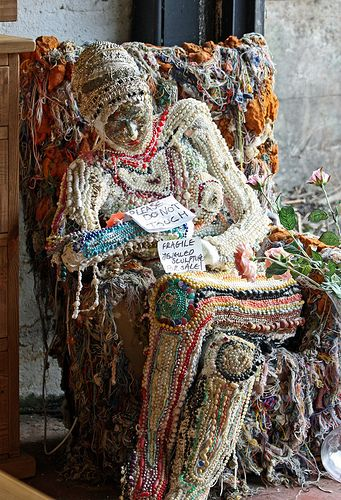 fabulous bead and fibre sculpture taken outside a 2nd hand furniture shop in Rye by Gareth Williams