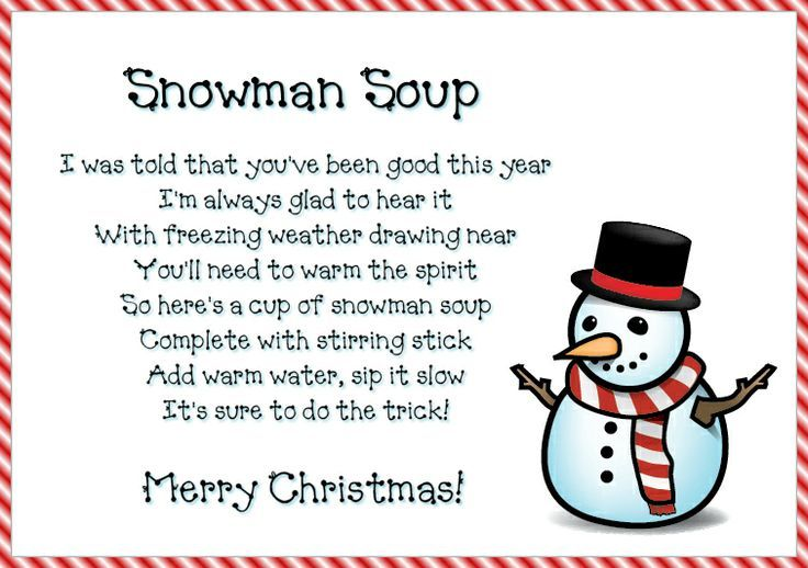 Snowman soup poem printable lables