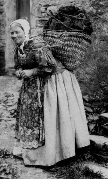 Old Photograph Hebridean Peat Carrier Scotland.