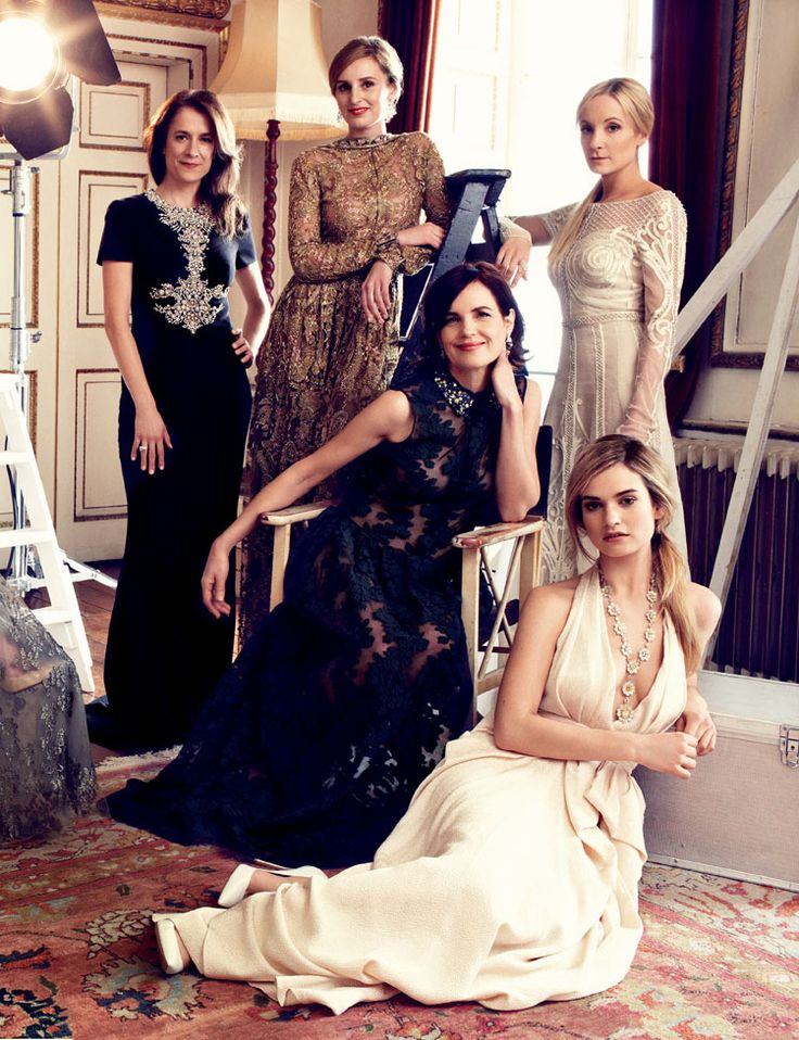 Harper's Bazaar UK August 2014 - Raquel Cassidy in Alexander McQueen; Laura Carmichael in Valentino; Elizabeth McGovern in Erdem; Joanne Froggatt in Temperley London; Lily James in Jenny Packham.