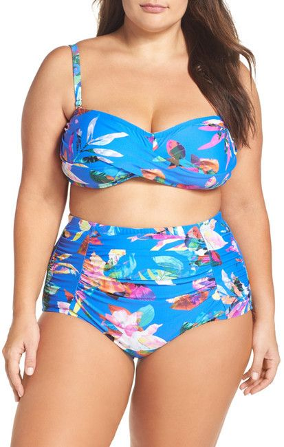 La Blanca Swimwear Havana Tropics Bandeau Bikini Top (Plus Size)