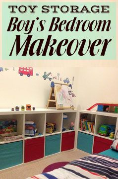 Toddler Boy's Bedroom Makeover with Ikea furniture, Kallax storage units for toys and a seaside theme