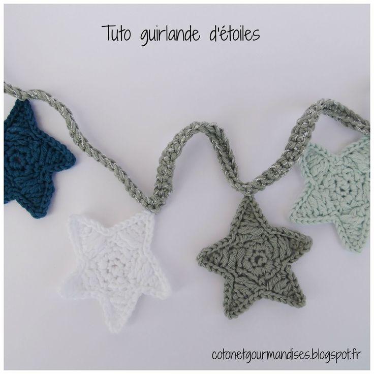 Coton et gourmandises: Guirlande d'étoiles au crochet