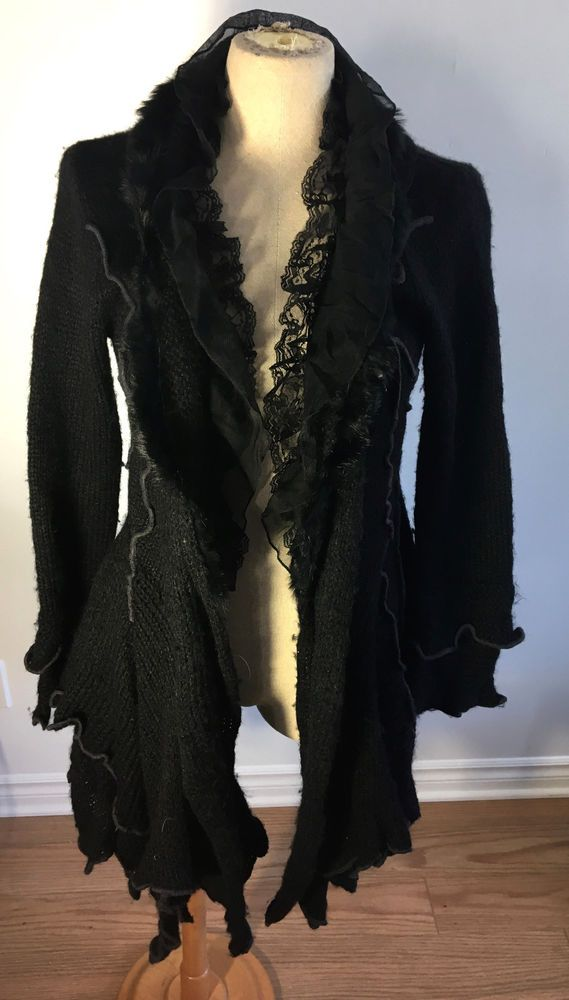 Terra Nostra Womens Gothic Style Black Long Vest Lace Fake Fure Size O/S   eBay
