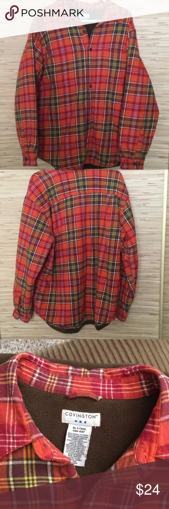 Plaid flannel lined shirt Plaid flannel shirt with fleece lining, sleeves are a quilted nylon, shirt tail hem, 2 chest pockets, button front, color is orange, Rd, brown, white plaid, size XLT (46-48), shell exterior 100% cotton, body lining, 100% polyester,  sleeve lining 100% nylon with polyester fill, medium weight, nice weight when it's chilly outside, no signs of wear, fro a smoke free home Covington Shirts Sweatshirts & Hoodies