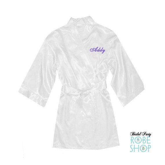 Set of 3 Girls Satin Robes with Name Embroidered on Front, Flower Girl Robe, Junior Bridesmaid Robe, Toddler Satin Robe