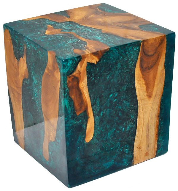 Teak Root and Resin cube used as a seat, end tables, nightstands, pedestal etc. #teak #coffee #table #modern #vintage #natural #root