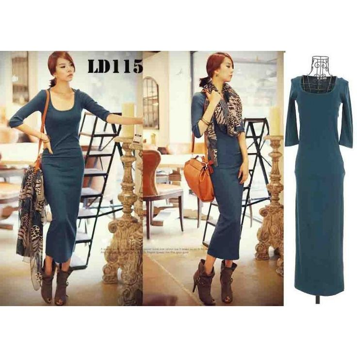 Blue Maxi Dress LD115 Model  100487 Condition  New  LD115 RJ STORY Knitted length120 bust76-100 waist58-86 shoulder31 sleeve36 360gr IDR190,000	IDR142,500	IDR118,750