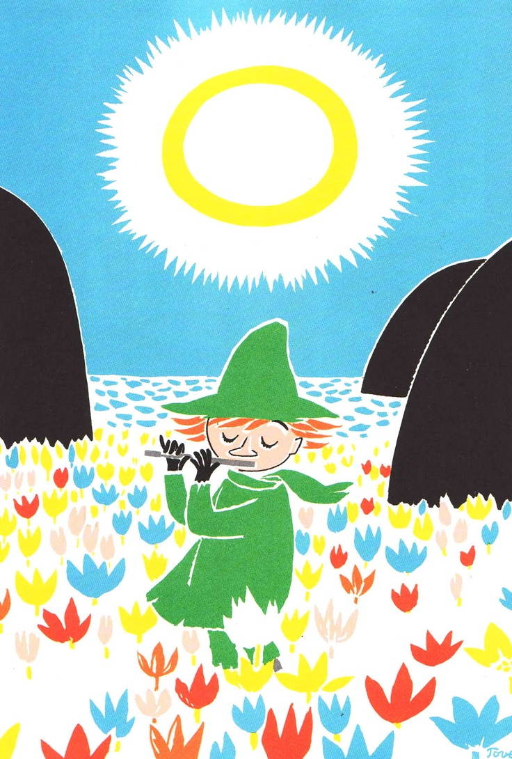 """Illustration of Snufkin (snusmumriken) by Tove Jansson.I'll come when it suits me"""" said Snufkin, """" """"perhaps I shan't come at all. I just may set off in another direction entirely."""""""