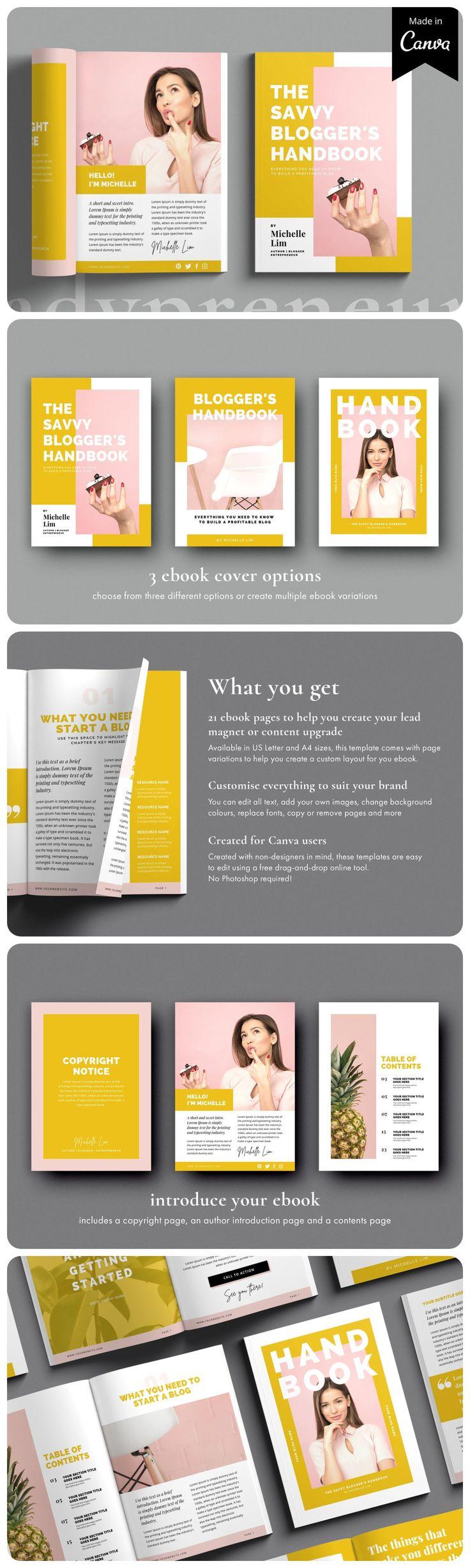 Canva eBook template Ladypreneur Ebook template, Ebook