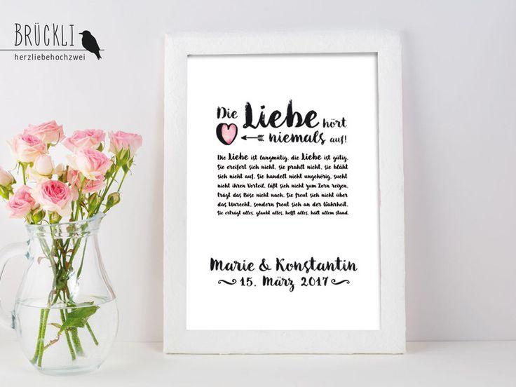 Weiteres - Kunstdruck Hochzeitsgeschenk / Hohelied der Liebe - ein Designerstück von Brueckli bei DaWanda