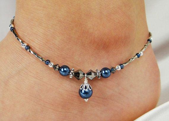 Bracelet, Bracelet de cheville, perle de verre bleu nuit Dangle, Gunmetal Gris cristaux de Swarovski, perles, mariage, plage, croisière, Resort, vacances