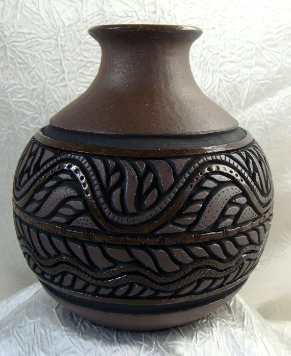 Pottery swirl vase hand carved dark chocolate