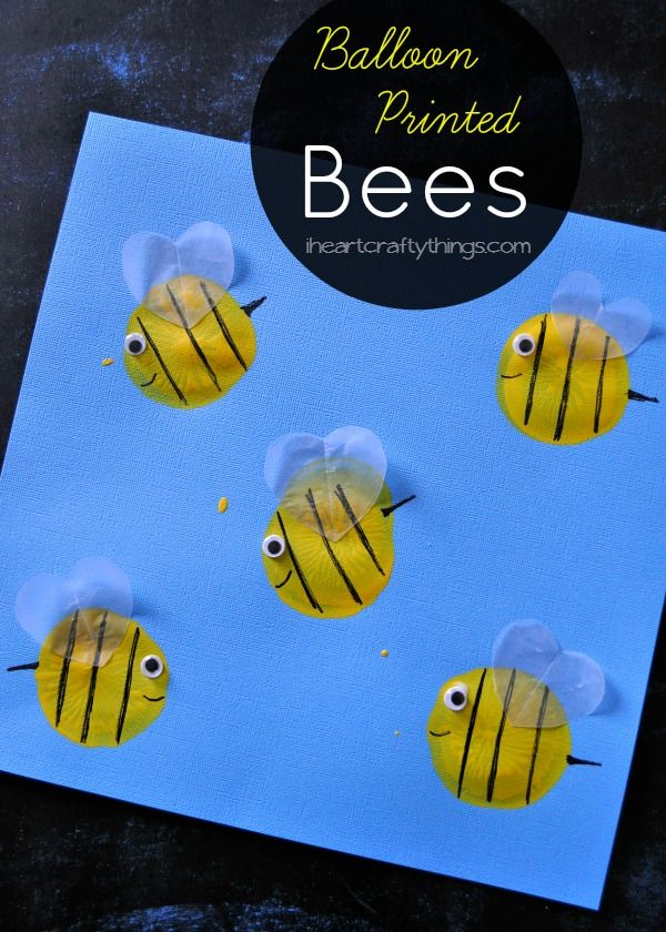 Make a Bee Kids Craft with balloon prints. Cute spring or summer craft for kids, or when learning about insects. from iheartcraftythings.com