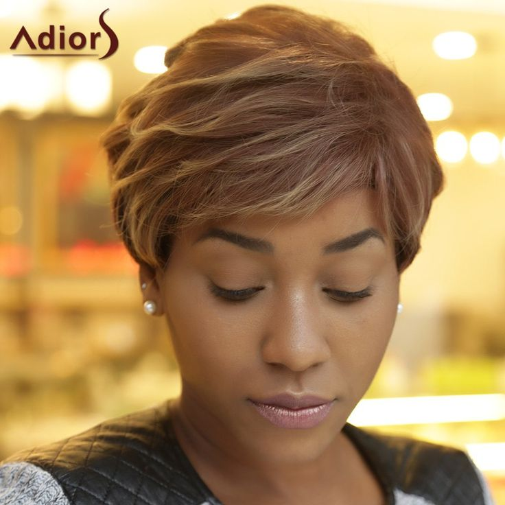 Adiors Short Fluffy Side Bang Curly Highlight Synthetic Wig #jewelry, #women, #men, #hats, #watches