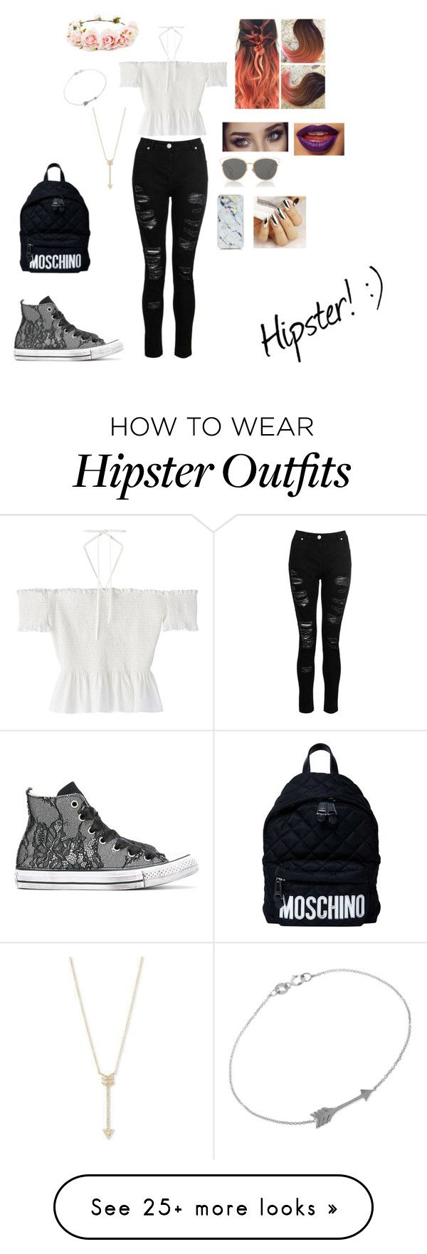 """Hipster look"" by sarz219 on Polyvore featuring Christian Dior, Forever 21, Dorothy Perkins, Converse, Moschino, Jennifer Meyer Jewelry and EF Collection"