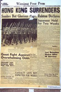 Copy of front page of the Winnipeg Free Press, December, 1941 (Click for larger image)