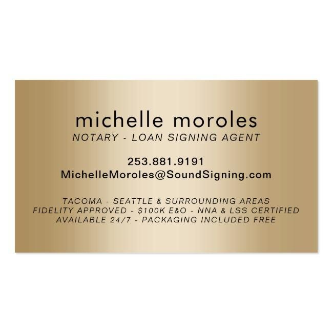 Notary Loan Signing Agent Elegant Typography Gold Business Card Loan Signing Agent Loan Signing Notary Signing Agent