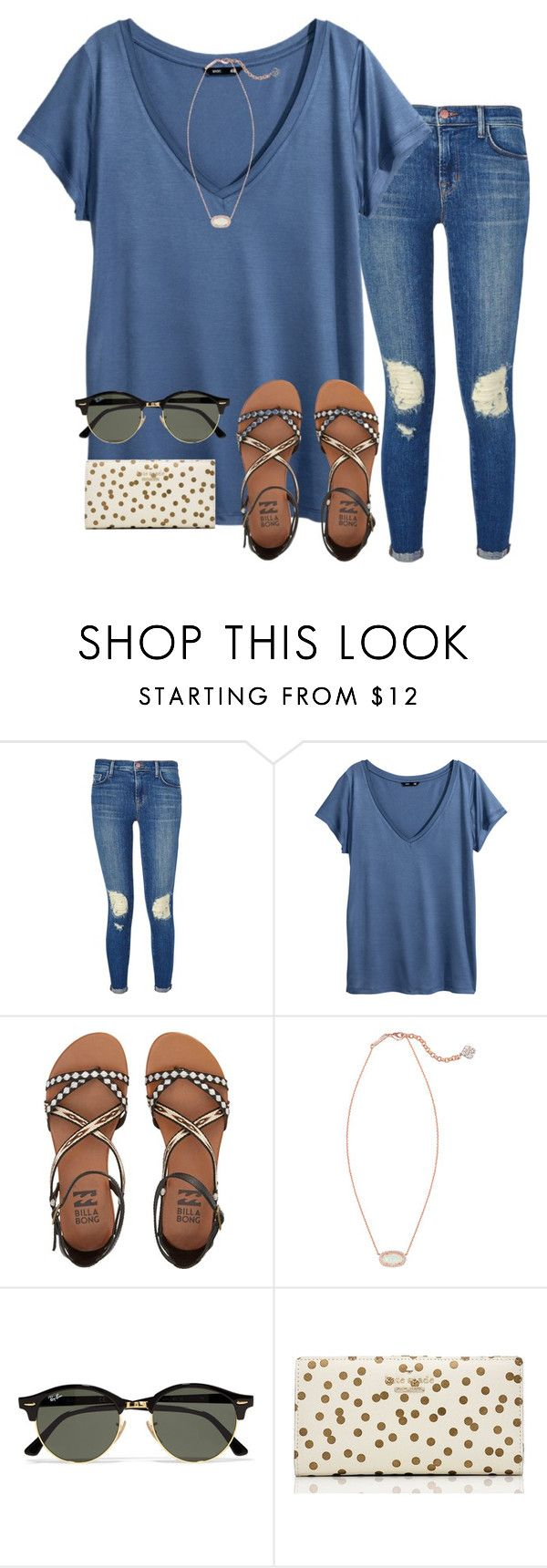 """""""idk what to title this"""" by serenag123 ❤ liked on Polyvore featuring J Brand, H&M, Billabong, Kendra Scott, Ray-Ban and Kate Spade"""