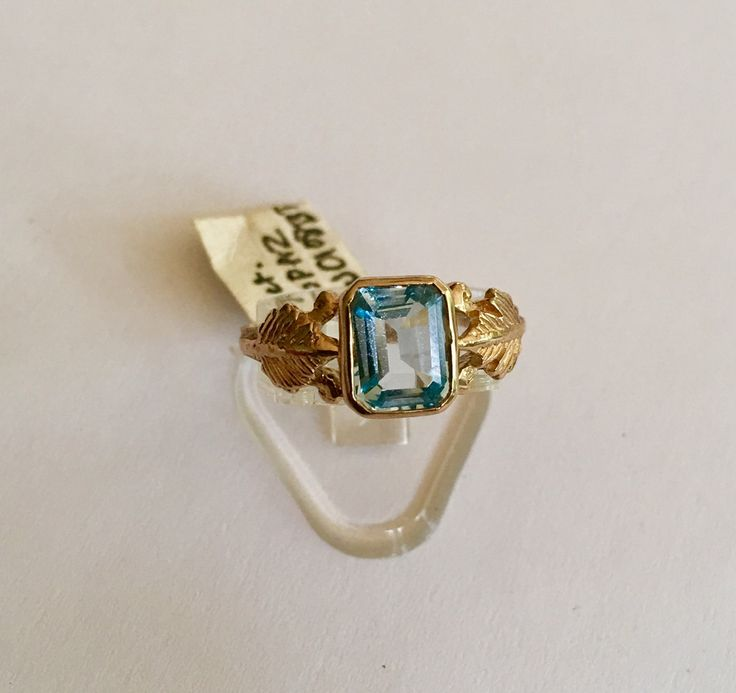 9ct Sky Blue Topaz Art Nouveau ring by VintageJewelleryAtic on Etsy