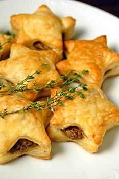 Mushroom Pate filled Puff Pastry Stars! Meatless party app.