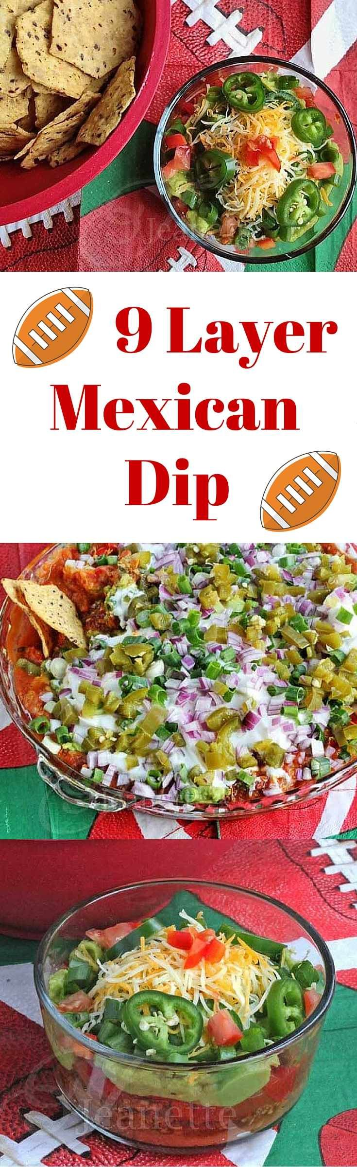 9 Layer Mexican Dip - this is always a crowd favorite - perfect for Game Day! ~ http://jeanetteshealthyliving.com