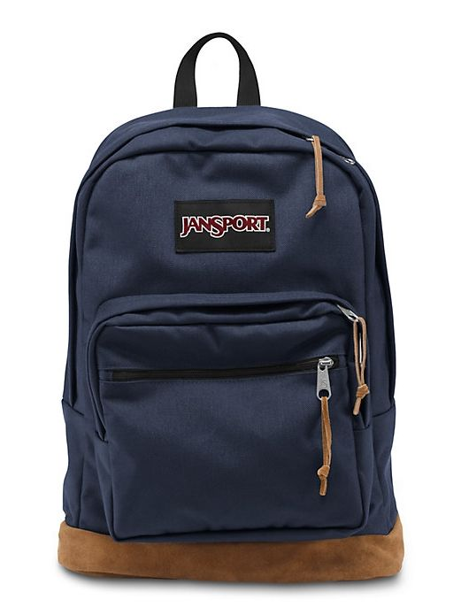 The new classic JanSport Navy Right Pack backpack from the features a laptop sleeve and the signature suede leather bottom.
