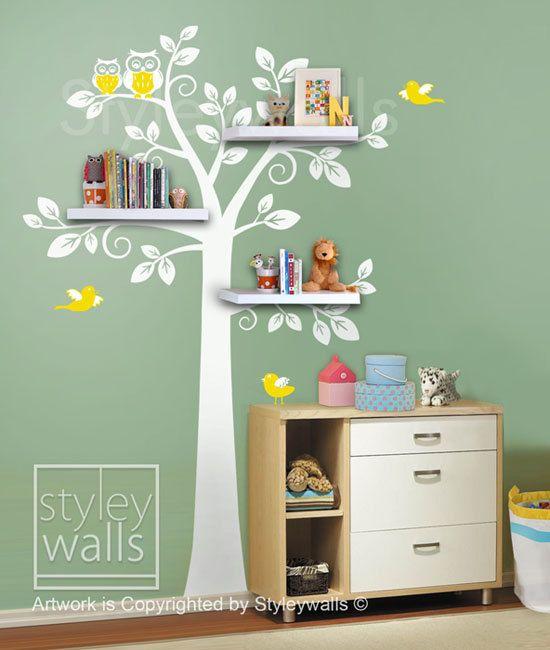 Children Wall  Shelf Tree Wall Decal Nursery Decal Wall Sticker - Shelves Tree Decal. $89.00, via Etsy.