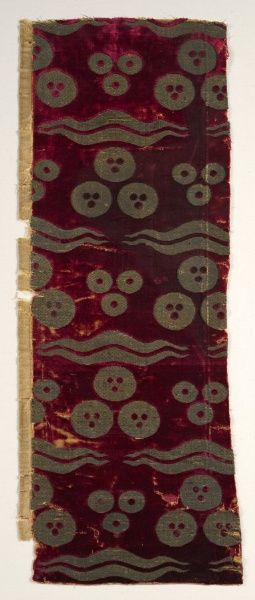 Ottoman Velvet with Chintamani Pattern.  Late 1400s.  (Cleveland Museum of Art)