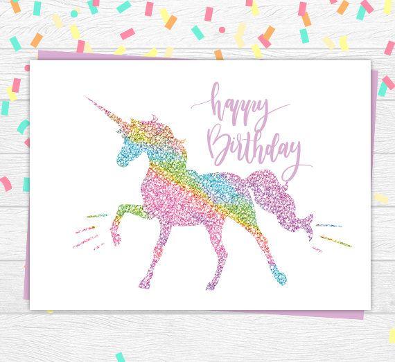 Unicorn Birthday Card Unicorn Card Glitter Unicorn Card