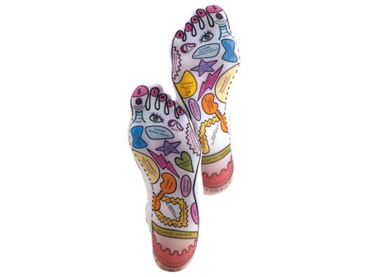 Reflexology socks-- these socks are color-coded so you know the points on your feet that correspond to all chakras and body parts