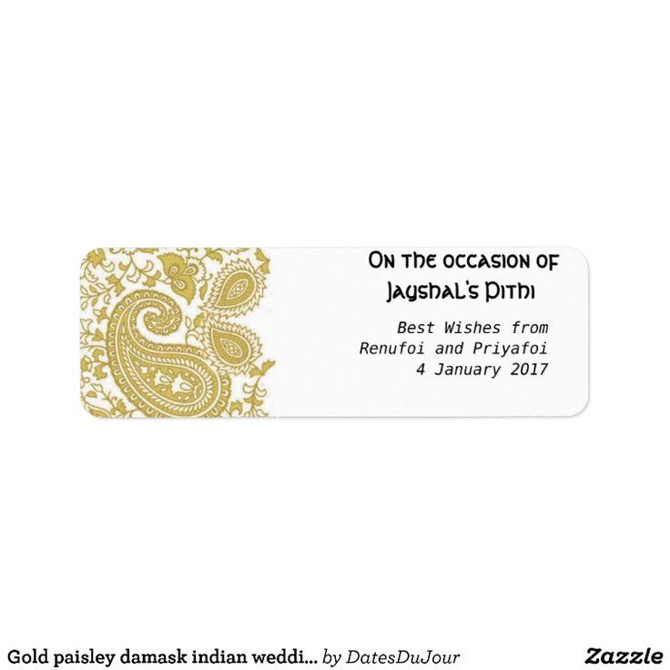 Gold paisley damask indian wedding label