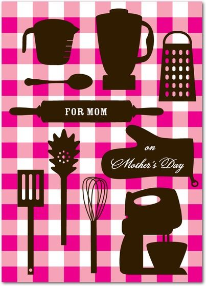Cooking Tools - Mother's Day Greeting Cards in Fuchsia | DwellStudio: Greeting Cards