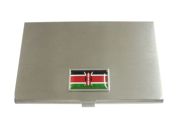 Thin Bordered Kenya Flag Pendant Business Card Holder