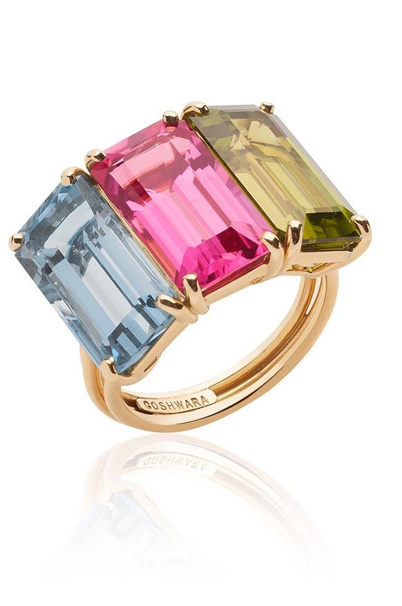 'G-One' Multi Colored Aquamarine, Peridot and Rubellite Cushion Ring