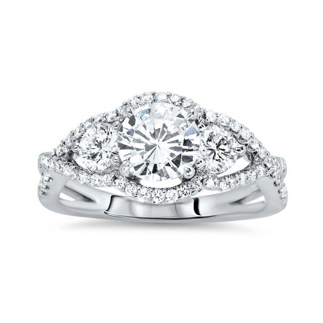 Fine Jewelry Diamonart Womens Cushion White Cubic Zirconia Sterling Silver 3-Stone Ring sq4WpVKd