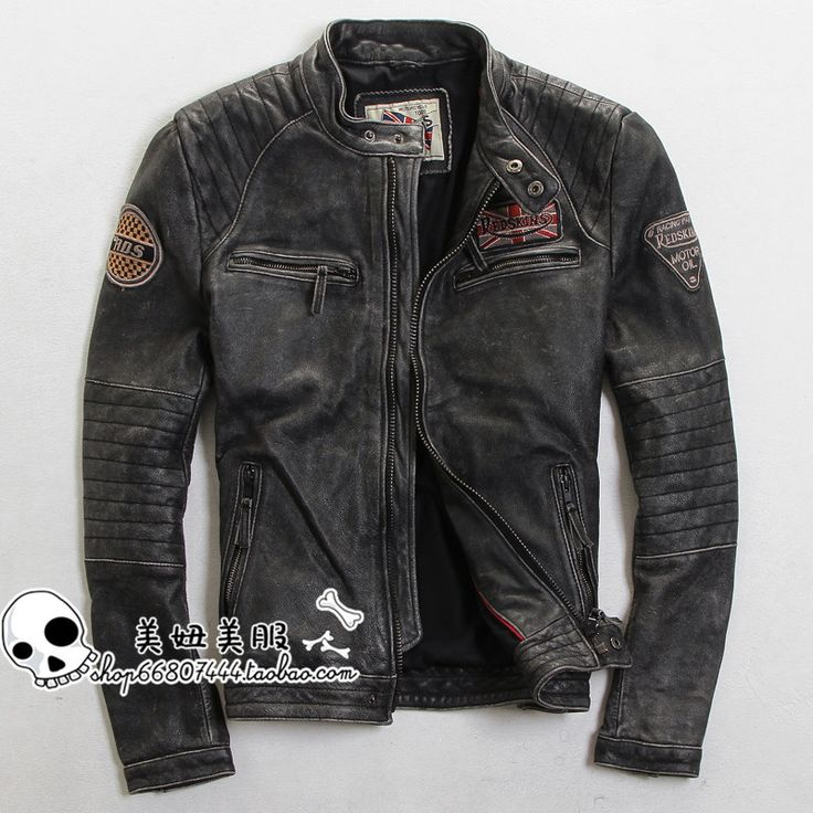 Find More Leather & Suede Information about Free Shipping 2015 New Men Leather Jacket Black Stand Collar Vintage 100% Genuine Cow Skin Leather Men Winter Motorcycle Coat ,High Quality jacket motocross,China jacket polo Suppliers, Cheap coat dress from Ye Leather World on Aliexpress.com