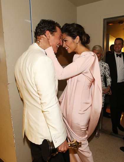 Matthew McConaughey and Camila Alves share a moment backstage at the Academy Awards 2014