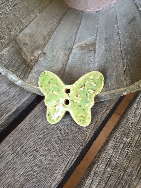 Spring Green Ceramic Butterfly Button  Floral by knjStudio on Etsy